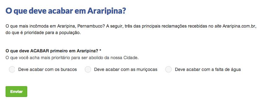 O que deve acabar em Araripina?