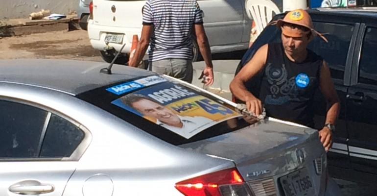Aécio Neves, adesivaço em Araripina Pernambuco PSDB 45