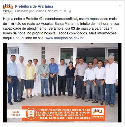 Prefeito repassa 1 milhão ao Hospital Santa Maria