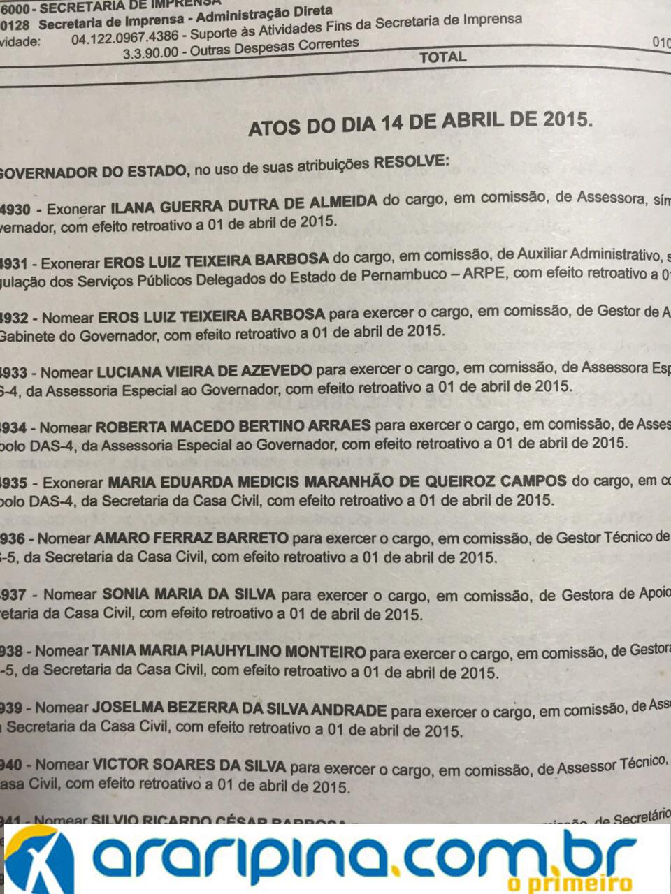Publicação de Termo de Nomeação de Roberta Arraes a Assessoria Especial